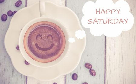 48188479 - happy saturday with coffee cup